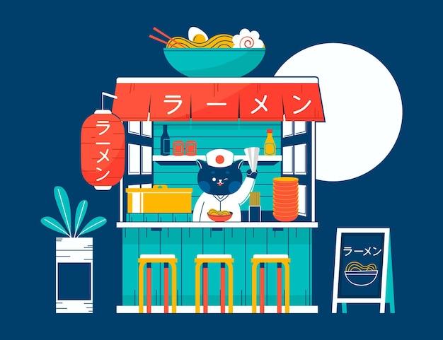 Ręcznie rysowane japoński sklep ramen