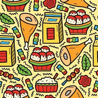 Ręcznie rysowane japońskie jedzenie kreskówka doodle wzór