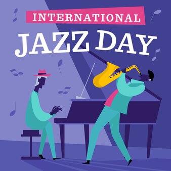 Ręcznie rysowane jazzowy dzień ilustracja z muzykami
