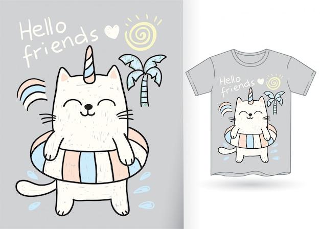 Ręcznie rysowane jednorożca ładny kot na t-shirt