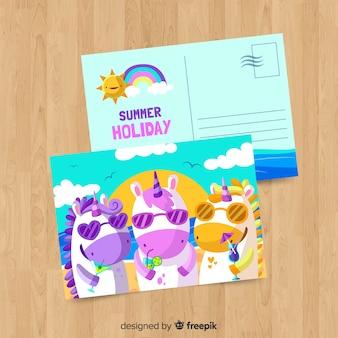 Ręcznie rysowane jednorożce lato pocztówka