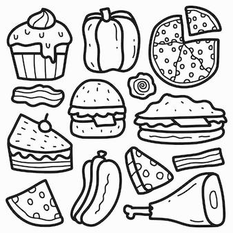 Ręcznie rysowane jedzenie doodle kreskówka projekt