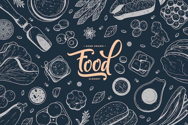 Ręcznie rysowane jedzenie na czarnej tablicy
