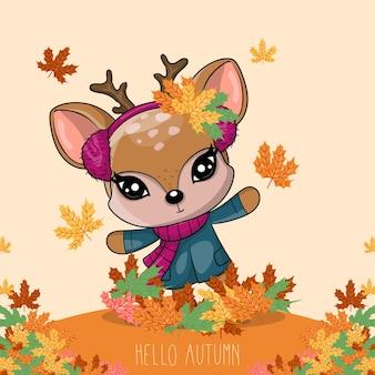 Ręcznie rysowane jeleń z jesienią