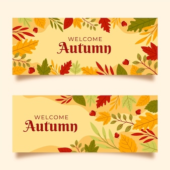 Ręcznie rysowane jesień banery kolekcja
