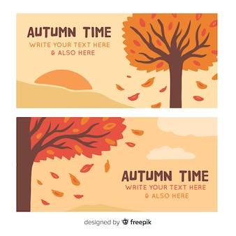 Ręcznie rysowane jesień banery szablon