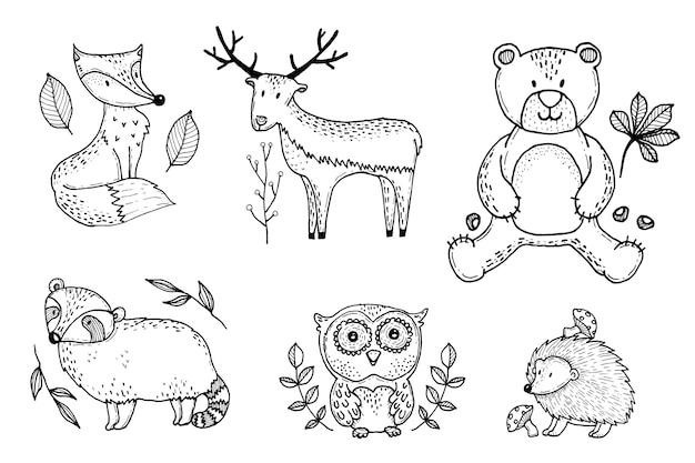 Ręcznie rysowane jesień fost kolekcja zwierząt