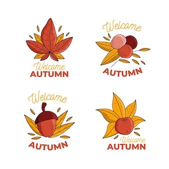 Ręcznie rysowane jesień kolekcja etykiet