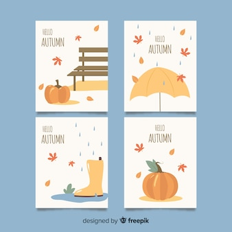 Ręcznie rysowane jesień kolekcja kart