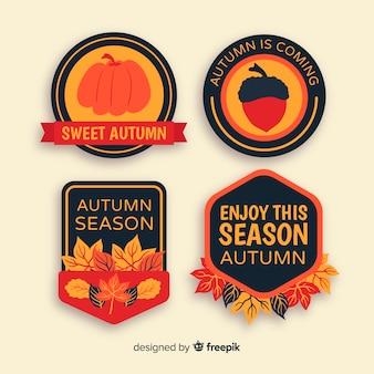 Ręcznie rysowane jesień kolekcja odznak