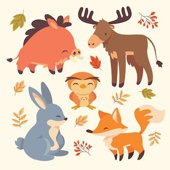 Ręcznie rysowane jesień kolekcja zwierząt leśnych