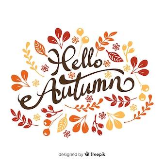 Ręcznie rysowane jesień napis tło