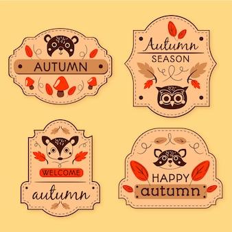 Ręcznie rysowane jesień pakiet etykiet