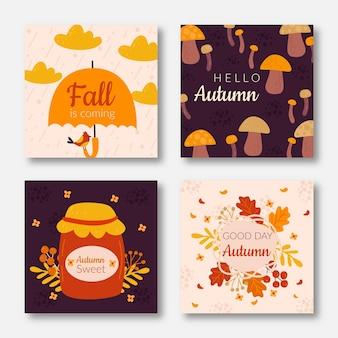 Ręcznie rysowane jesień pakiet kart