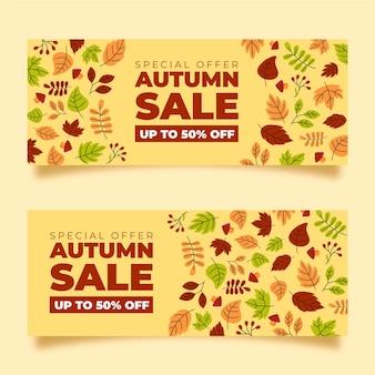 Ręcznie rysowane jesień sprzedaż banerów paczka