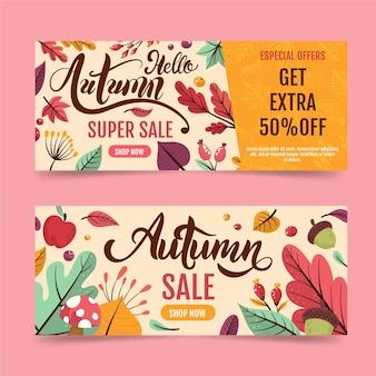Ręcznie rysowane jesień sprzedaż banerów pakiet