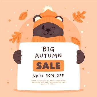 Ręcznie rysowane jesień sprzedaż z niedźwiedziem