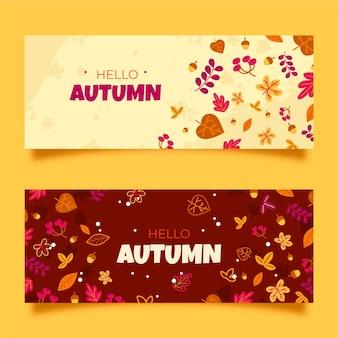 Ręcznie rysowane jesień zestaw bannerów