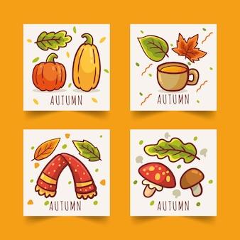 Ręcznie rysowane jesień zestaw kart