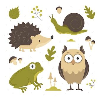 Ręcznie rysowane jesień zestaw zwierząt leśnych