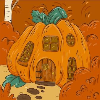 Ręcznie rysowane jesienna ilustracja z dyniowym domem