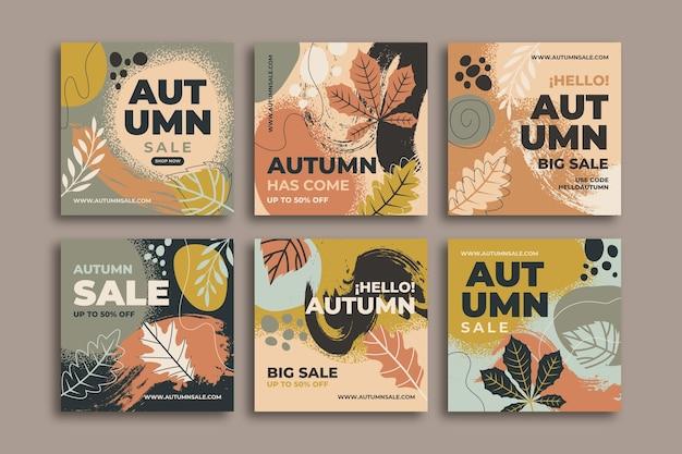 Ręcznie rysowane jesienna kolekcja postów na instagramie