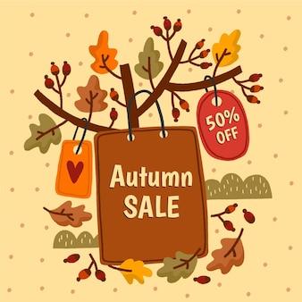 Ręcznie rysowane jesienna wyprzedaż