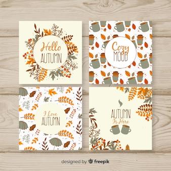 Ręcznie rysowane jesienne collectio karty