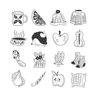Ręcznie rysowane jesienne doodle bezbarwne ilustracje zestaw uroczych obiektów wektorowych