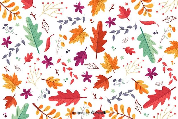 Ręcznie rysowane jesienne liście tło