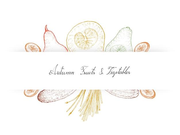 Ręcznie rysowane jesienne warzywa kabaczki i ogórki
