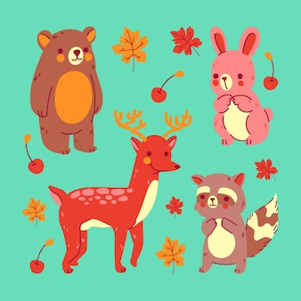 Ręcznie rysowane jesienne zwierzęta leśne