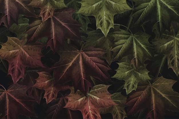 Ręcznie rysowane jesienny liść klonu wzorzyste tło wektor