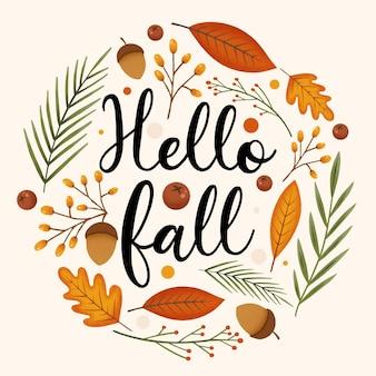 Ręcznie rysowane jesienny napis