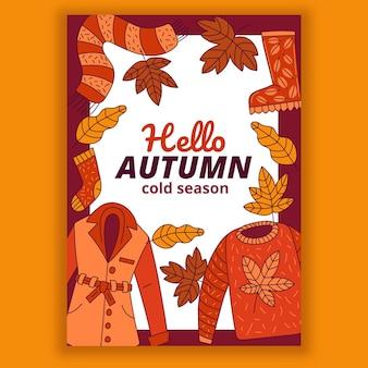 Ręcznie rysowane jesienny pionowy szablon ulotki