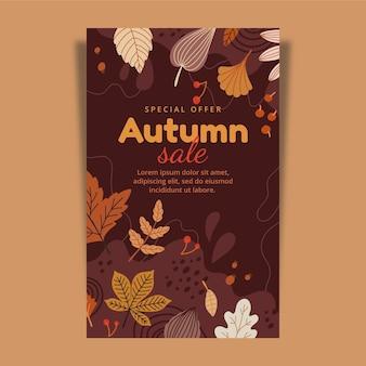 Ręcznie rysowane jesienny szablon pionowy baner