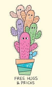 Ręcznie rysowane kaktus na t shirt