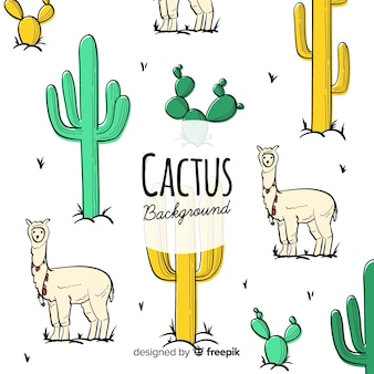 Ręcznie rysowane kaktus tło