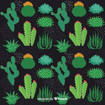 Ręcznie rysowane kaktus wzór tła