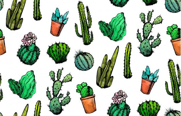 Ręcznie rysowane kaktusy bez szwu wzór. ozdoba kaktusa