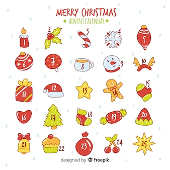 Ręcznie rysowane kalendarz adwentowy