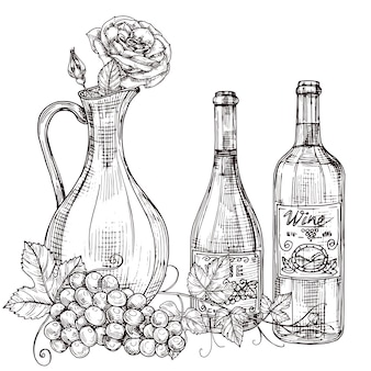 Ręcznie rysowane karafka wina z różami, butelek wina, ilustracja winogron