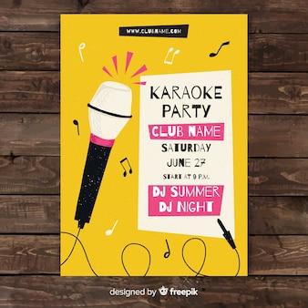 Ręcznie rysowane karaoke plakat szablon
