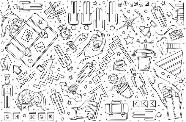 Ręcznie rysowane kariery zestaw doodle tło