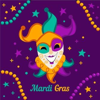 Ręcznie rysowane karnawał mardi gras