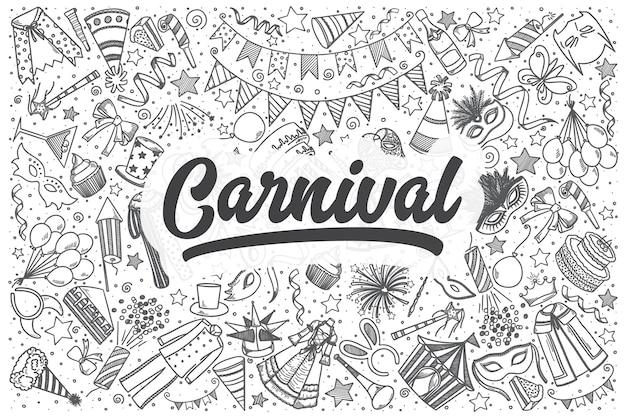 Ręcznie rysowane karnawałowe doodle zestaw. napis - karnawał