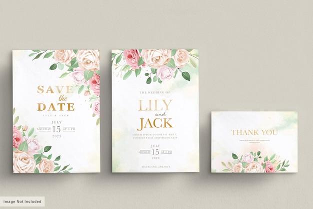 Ręcznie rysowane karta kwiatowy zaproszenie