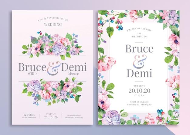 Ręcznie rysowane karta zaproszenie na ślub kwiatowy