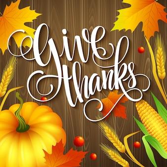 Ręcznie rysowane kartkę z życzeniami dziękczynienia z liści, dyni i spica na tle drewna. ilustracja wektorowa eps 10