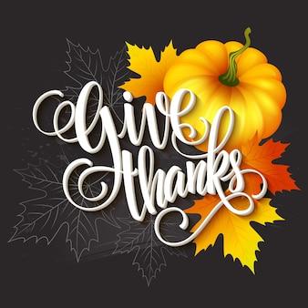 Ręcznie rysowane kartkę z życzeniami na święto dziękczynienia z liśćmi, dynią i spica. ilustracja wektorowa eps 10